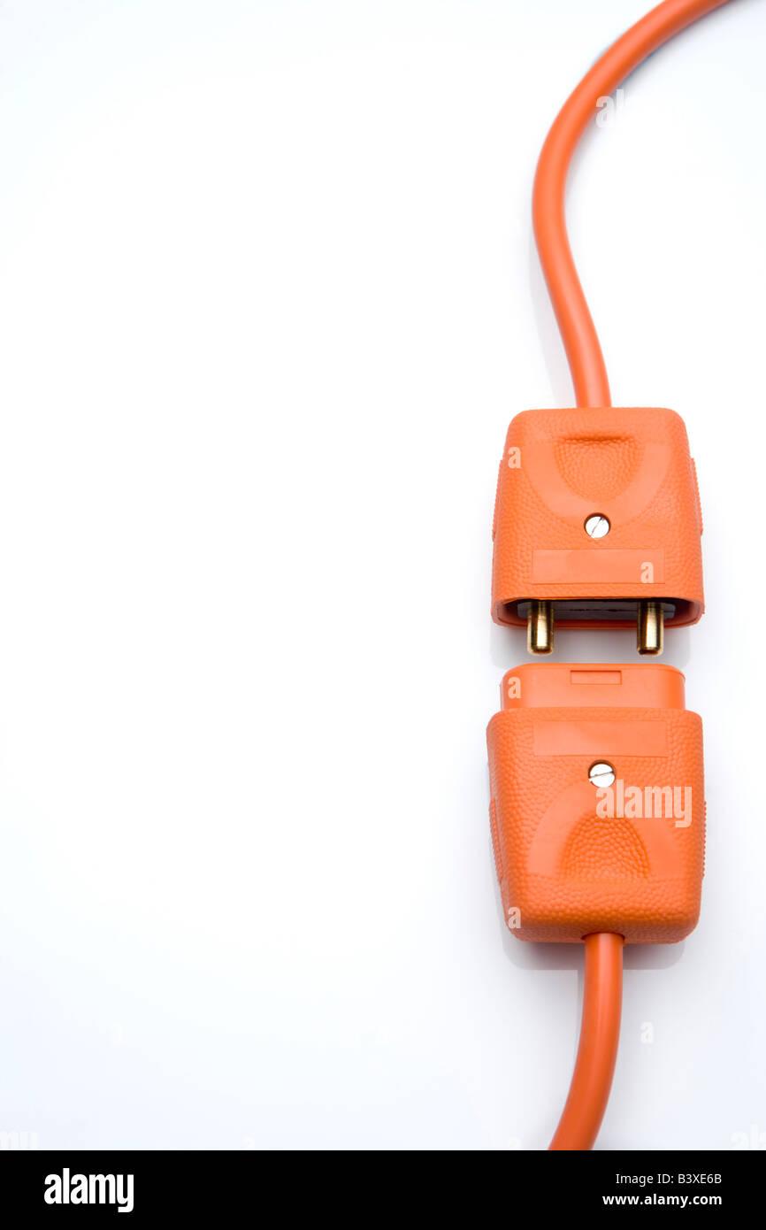 Zwei Orange elektrische Stecker Stockbild