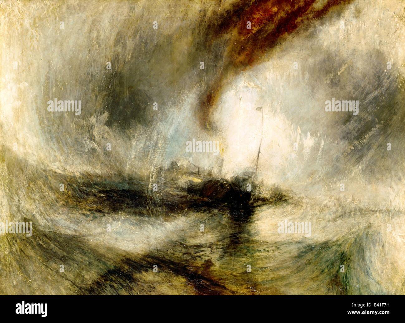 "Bildende Kunst, Turner, Joseph Mallord William (1775-1851), Malerei ""Schneesturm"", 1842, Öl auf Leinwand, Stockbild"