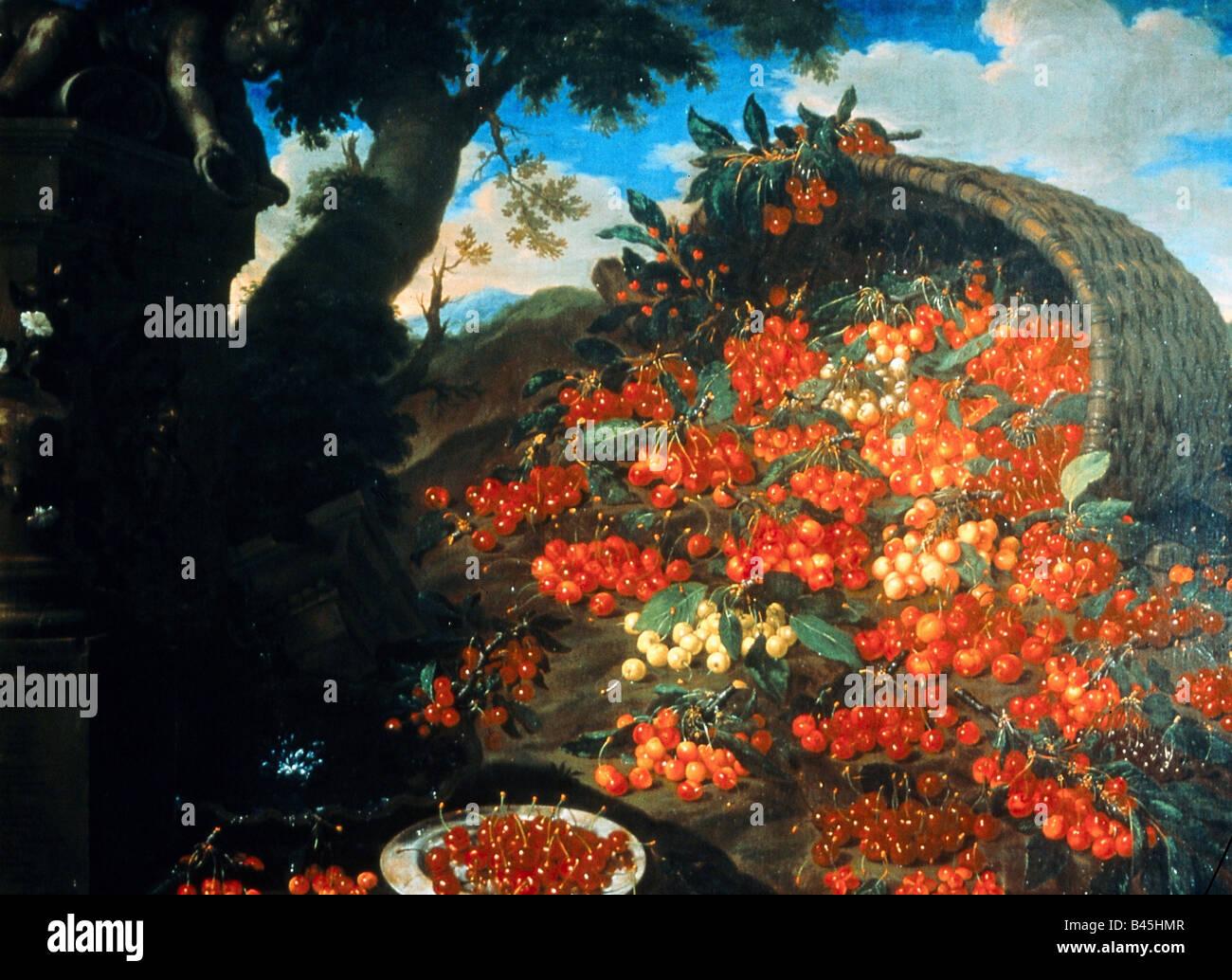"Bildende Kunst, Bimbi, Bartolomeo (1648-1730), ""vielfältige Varieta di Ciliegie"", Malerei, Öl auf Leinwand, Poggio Stockfoto"