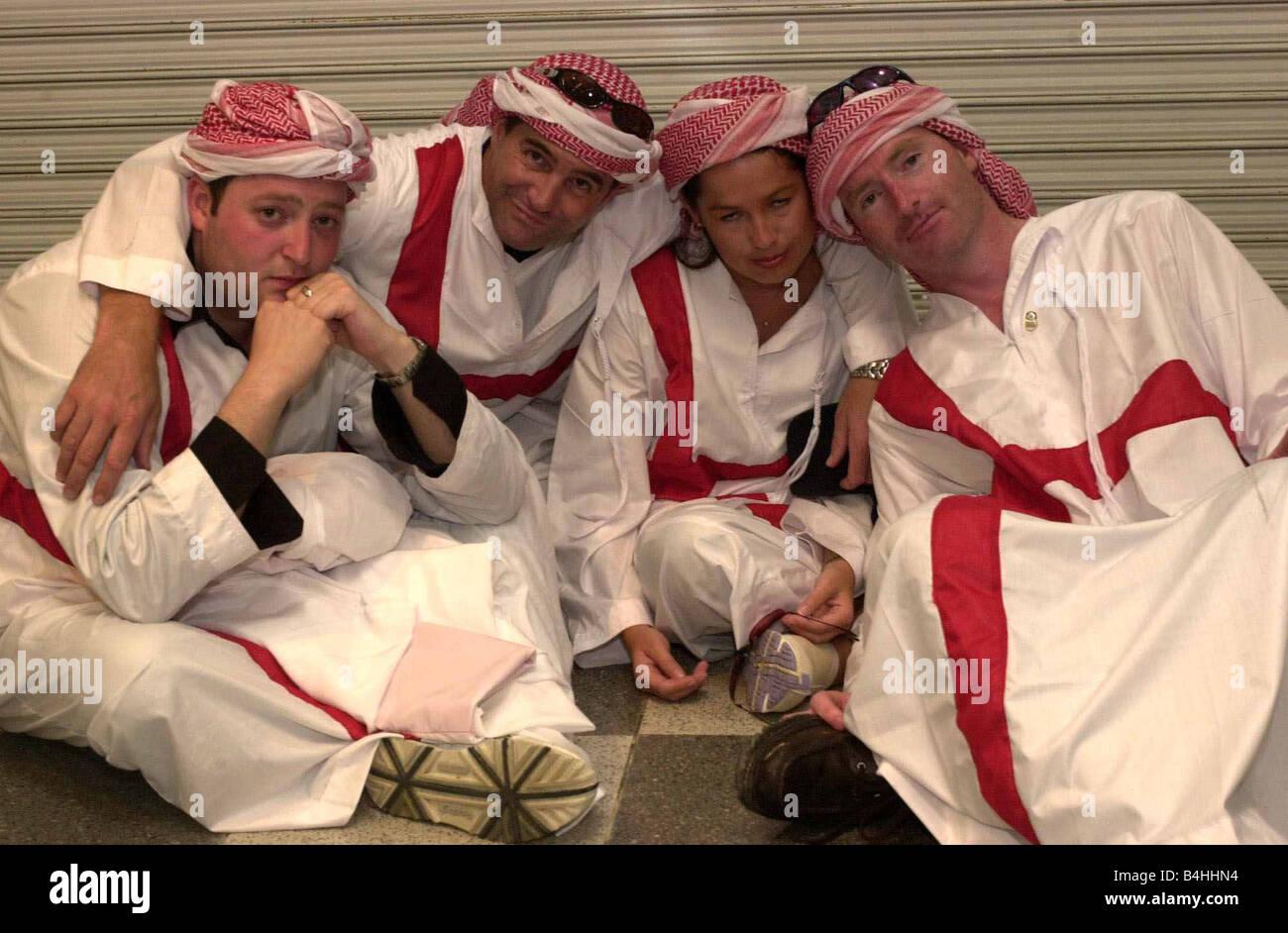 England Fans Fußballfans Juni 2002 enttäuscht die englischen Fan nach England V Brasilien-Spiel in Japan Stockbild