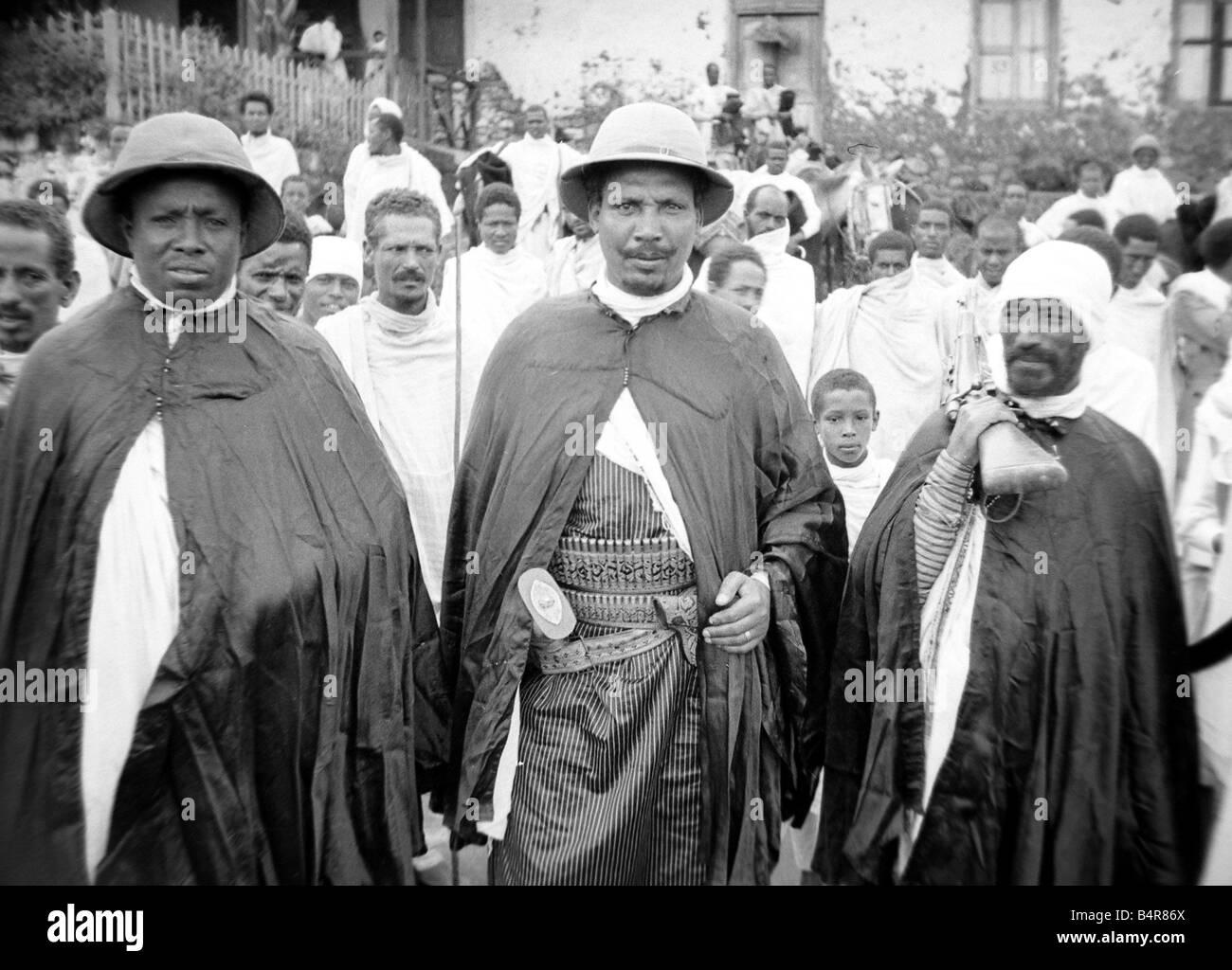 Männer von Abessinien Circa 1935 Krieg Konflikt militärisch Menschen Männer Afrika Äthiopien Stockbild
