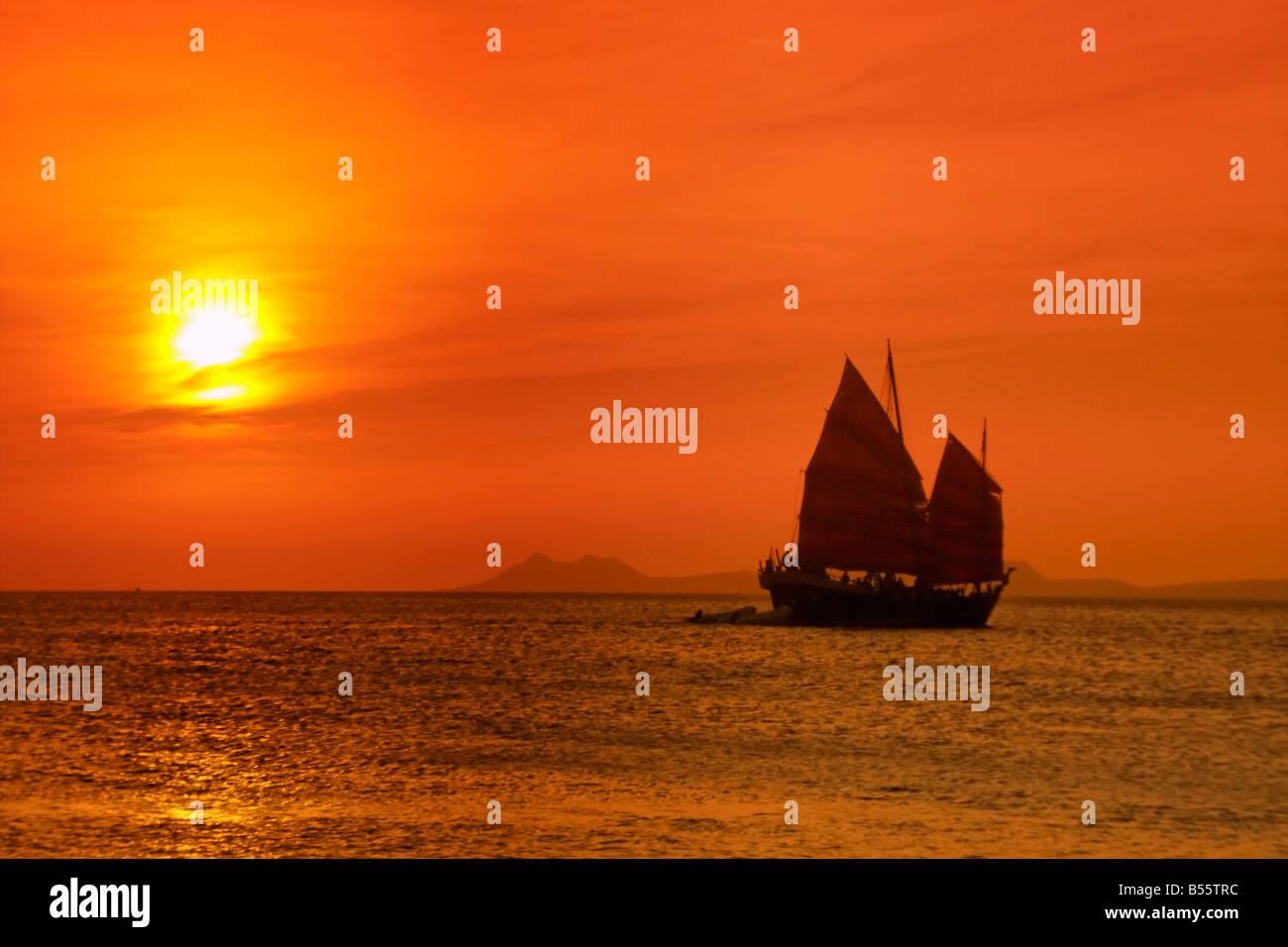 Antillen Bonaire Sonnenuntergang Segelboot Sonnenuntergang Stockbild
