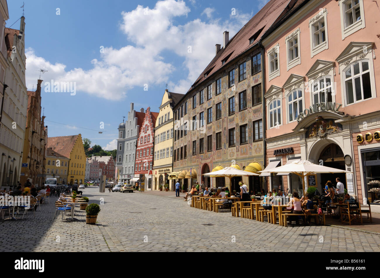 Altstadt, Landshut, Bayern, Deutschland Stockbild