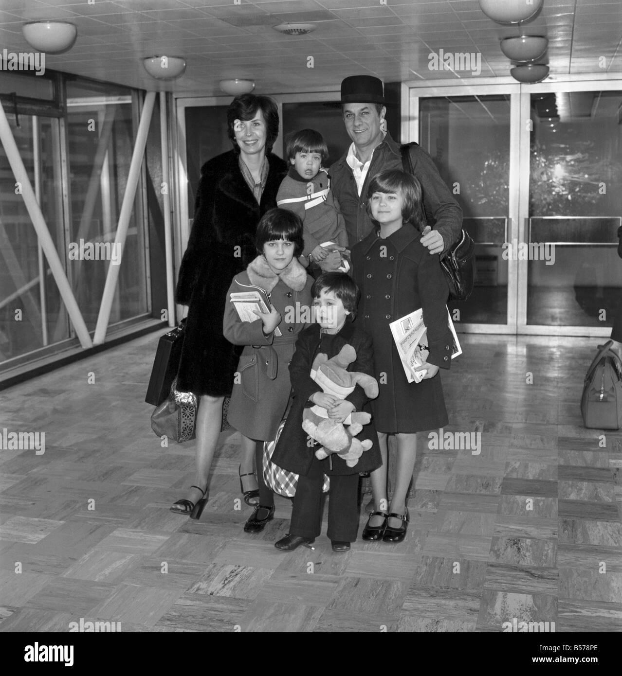 Film Schauspieler Tony Curtis Und Frau Lesley Und Kinder Zeile Lr