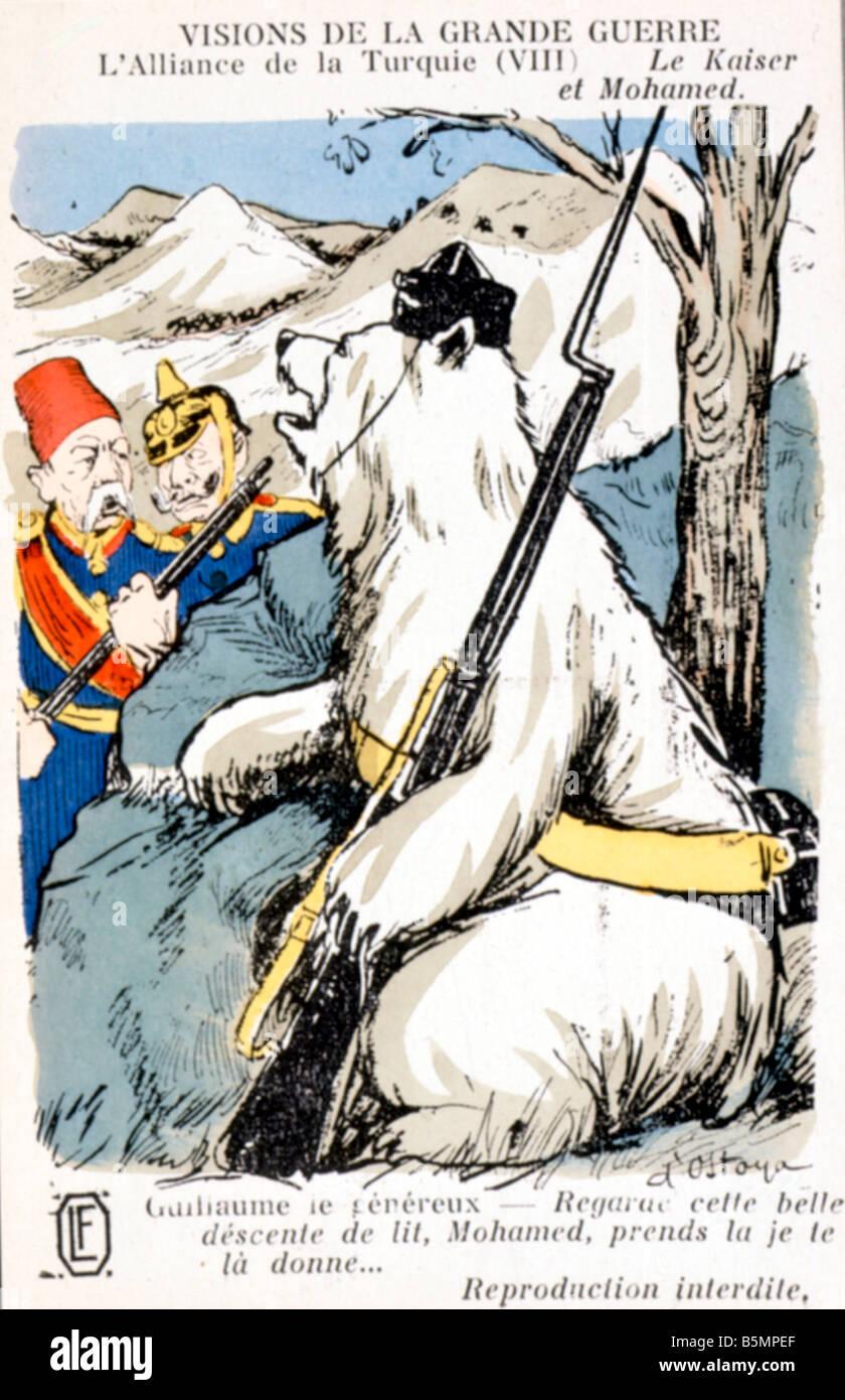 9 1914 8 2 C1 Allianz Deutschland Türkei 1914 Caricat Weltkrieg 1914-18 1 geheime Vertrag zwischen Deutschland Stockbild