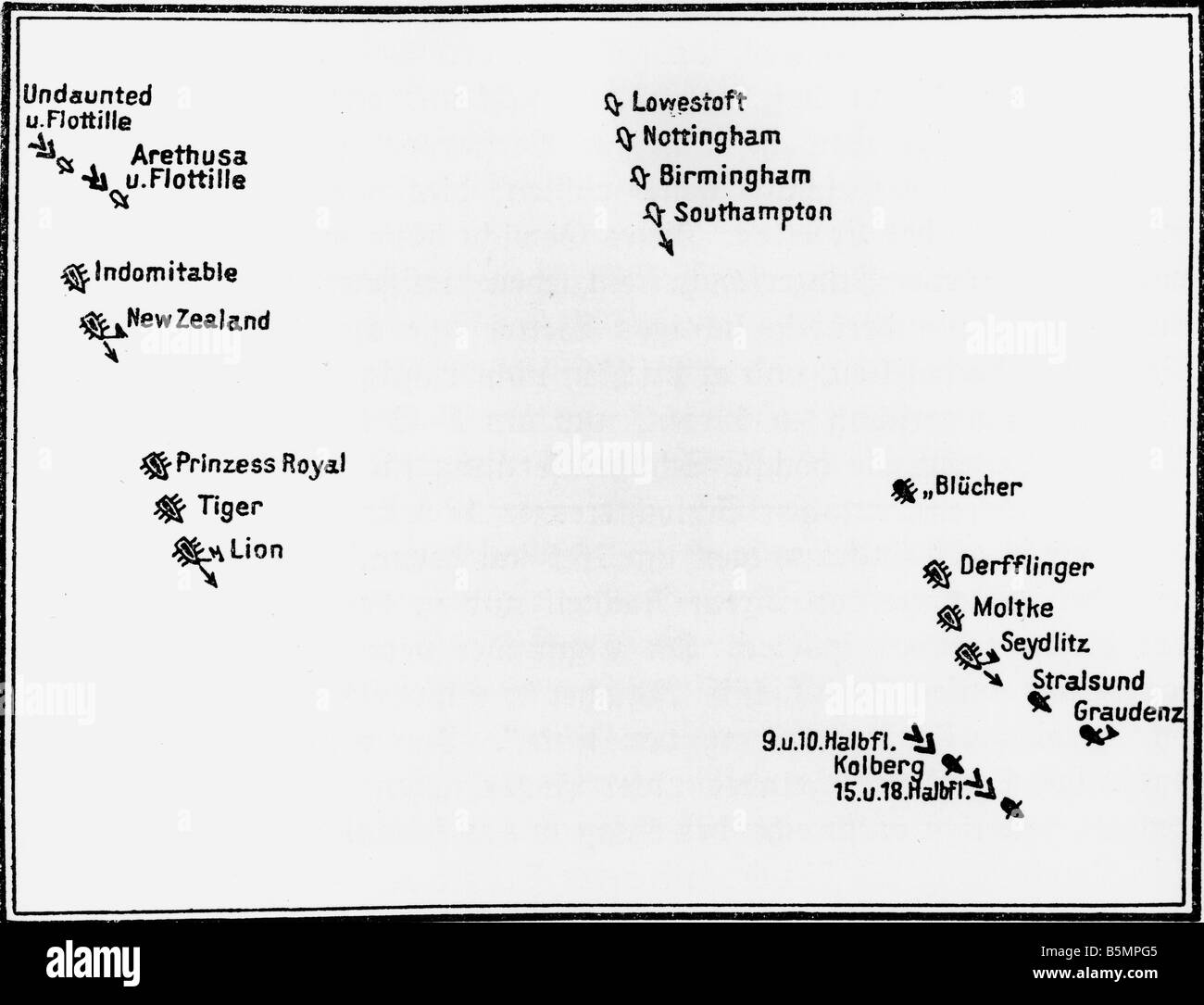 9 1915 1 24 F1 Naval battle Helgoland 1915 Skizze Weltkrieg 1914-18 1 Seekrieg schweren Kampf zwischen deutschen Stockbild