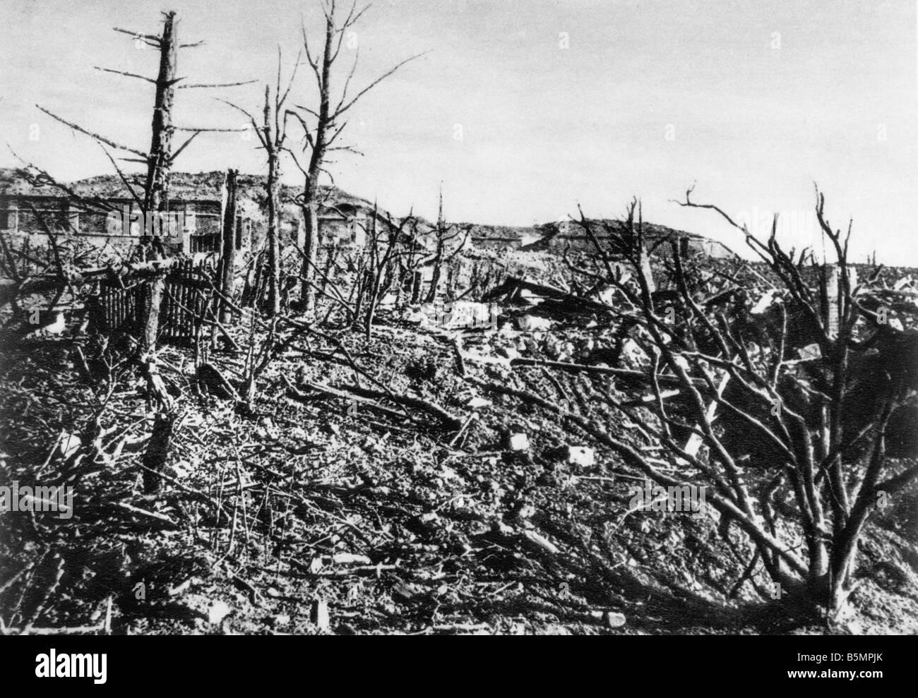 9 1916 3 15 A1 E Schlacht in der Nähe von Verdun Ansicht des Fort Vaux Weltkriegs Western Front Schlacht bei Stockbild