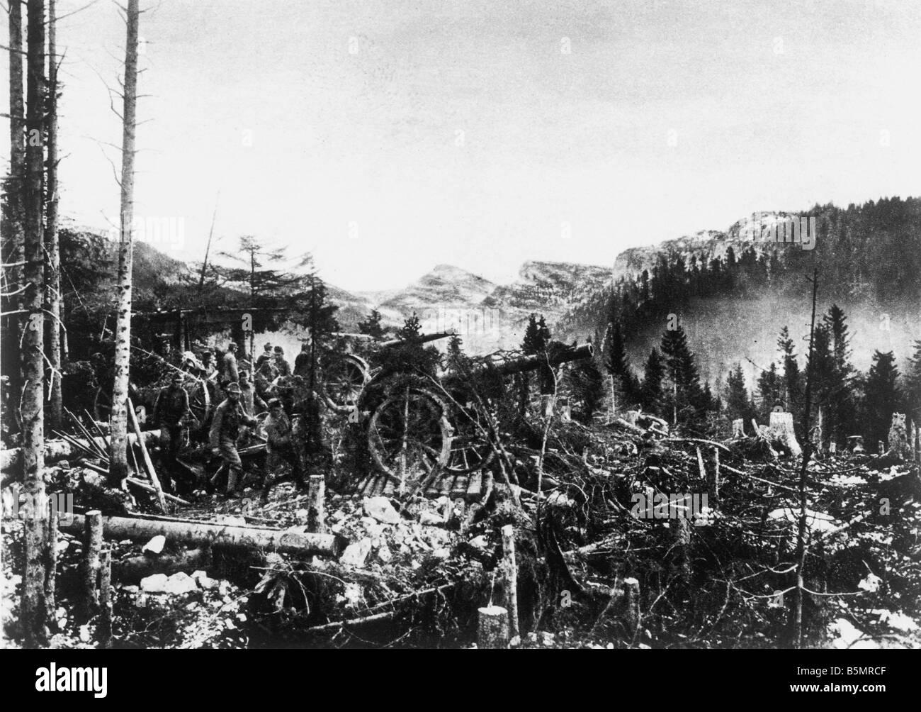 9 1917 10 0 A1 4 E Austr Akkuposition am Afagio 1917 Erster Weltkrieg 1914-18 1 Relief Angriff der G-Boy und Österreicher Stockbild