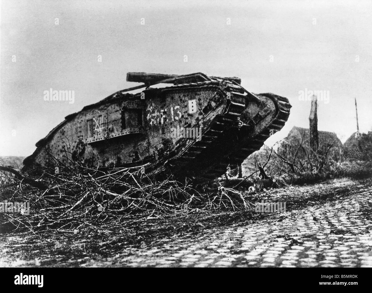 9-1917-11-20 A2 1 E Panzerschlacht bei Cambrai Englisch tank Weltkrieg ein Western Front Panzerschlacht bei Cambrai Stockbild