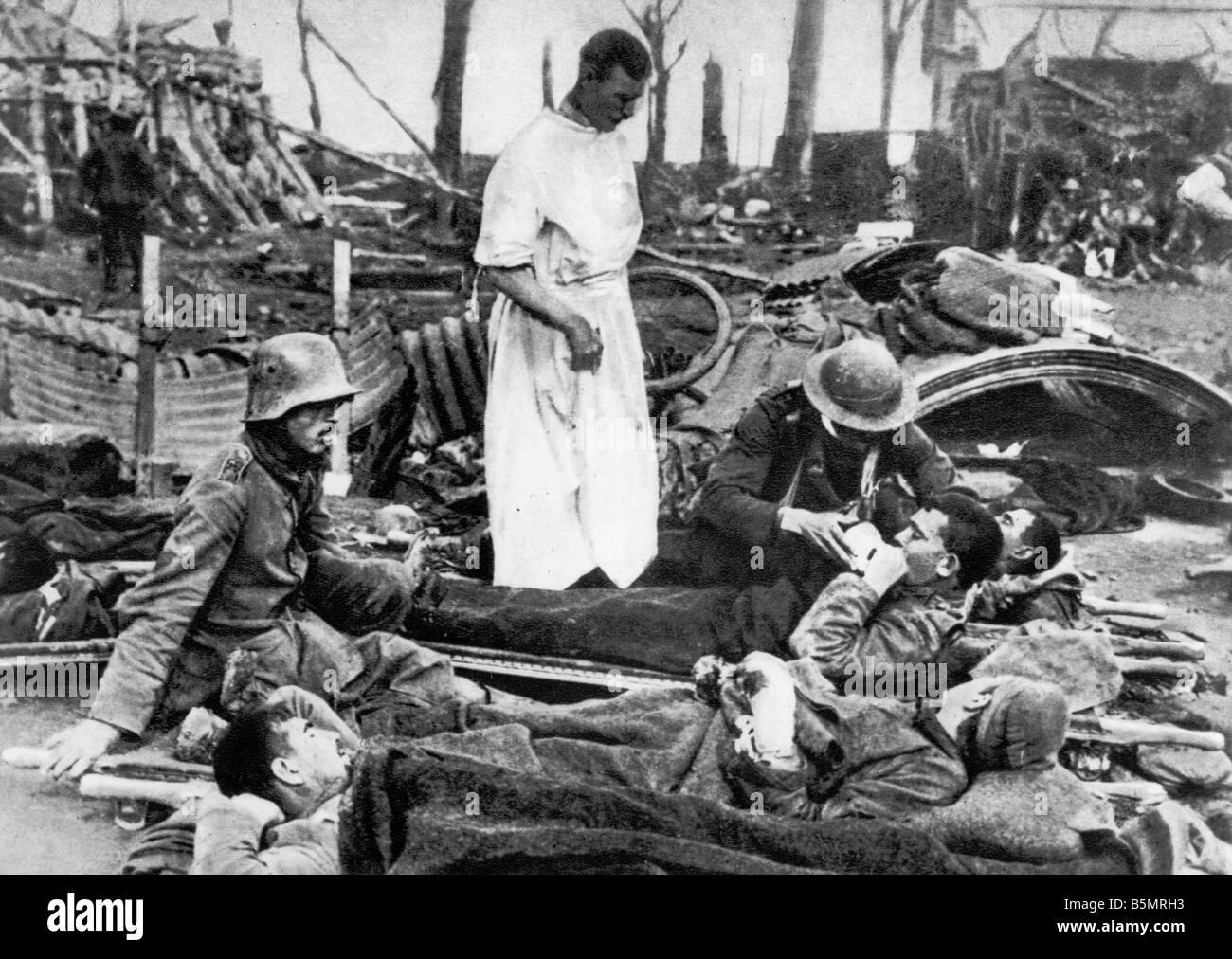 9 1917 9 20 A1 Flandern-Schlacht verwundet Ger Soldaten Weltkrieg 1914-18 1 Western Front Schlacht von Flandern Stockbild