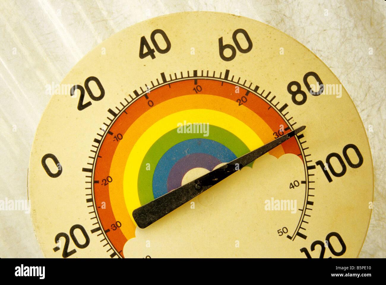 Bunte Temperatur Gage, Fahrenheit & Celsius. Stockbild