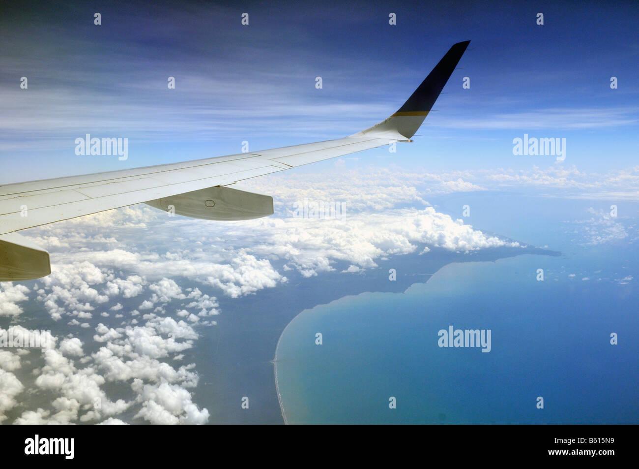 Blick aus einem Flugzeug der Karibikküste, Nicaragua, Mittelamerika Stockbild