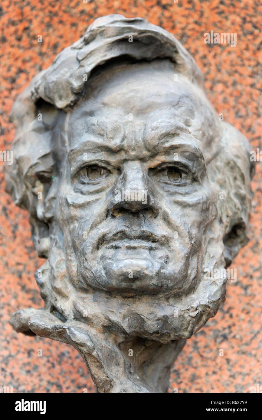 Büste von Richard Wagner, Staatsoper Nürnberg, Nürnberg, Middle Franconia, Bayern, Deutschland, Europa Stockbild