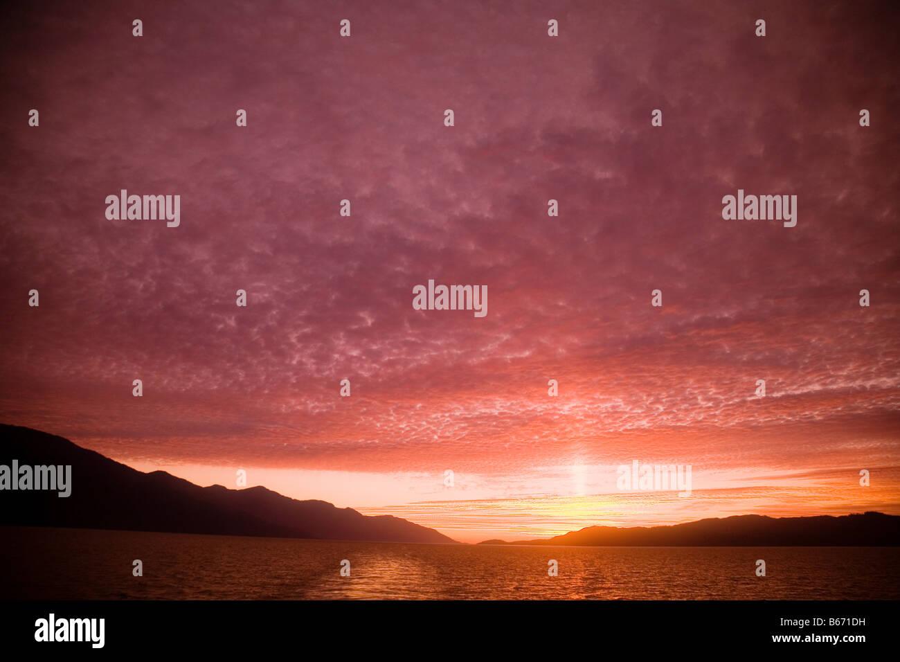 Sonnenuntergang auf inside Passage Stockbild