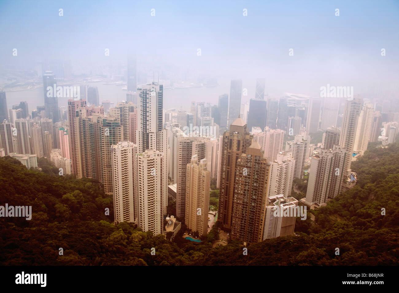 Luftaufnahme von Wolkenkratzern in einer Stadt, Hong Kong Island, Hongkong, China Stockbild