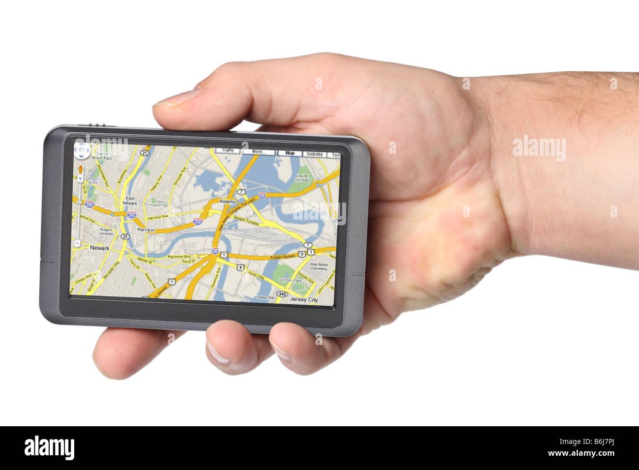 Tragbares GPS-Gerät in der Hand Ausschnitt auf weißem Hintergrund Stockfoto