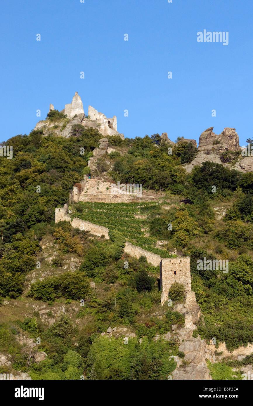 Dürnstein der Kuenringer Burg, wo Richard Löwenherz war ruinieren einmal als Gefangener, über die Stockbild