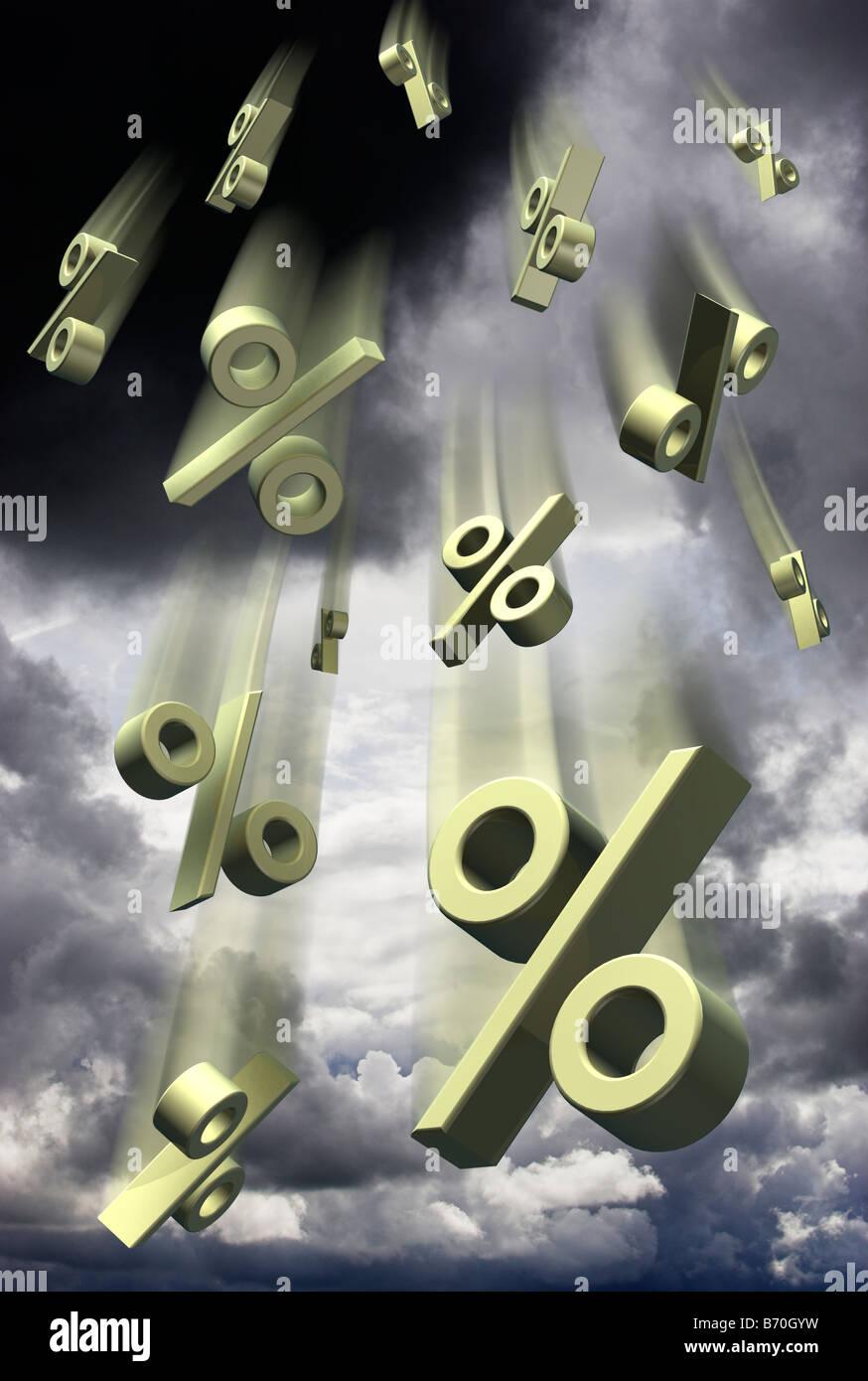 Interesse Prozentsatz Prozent bewerteten Symbole fallen gegen einen stürmischen Himmel - digital composite Stockbild