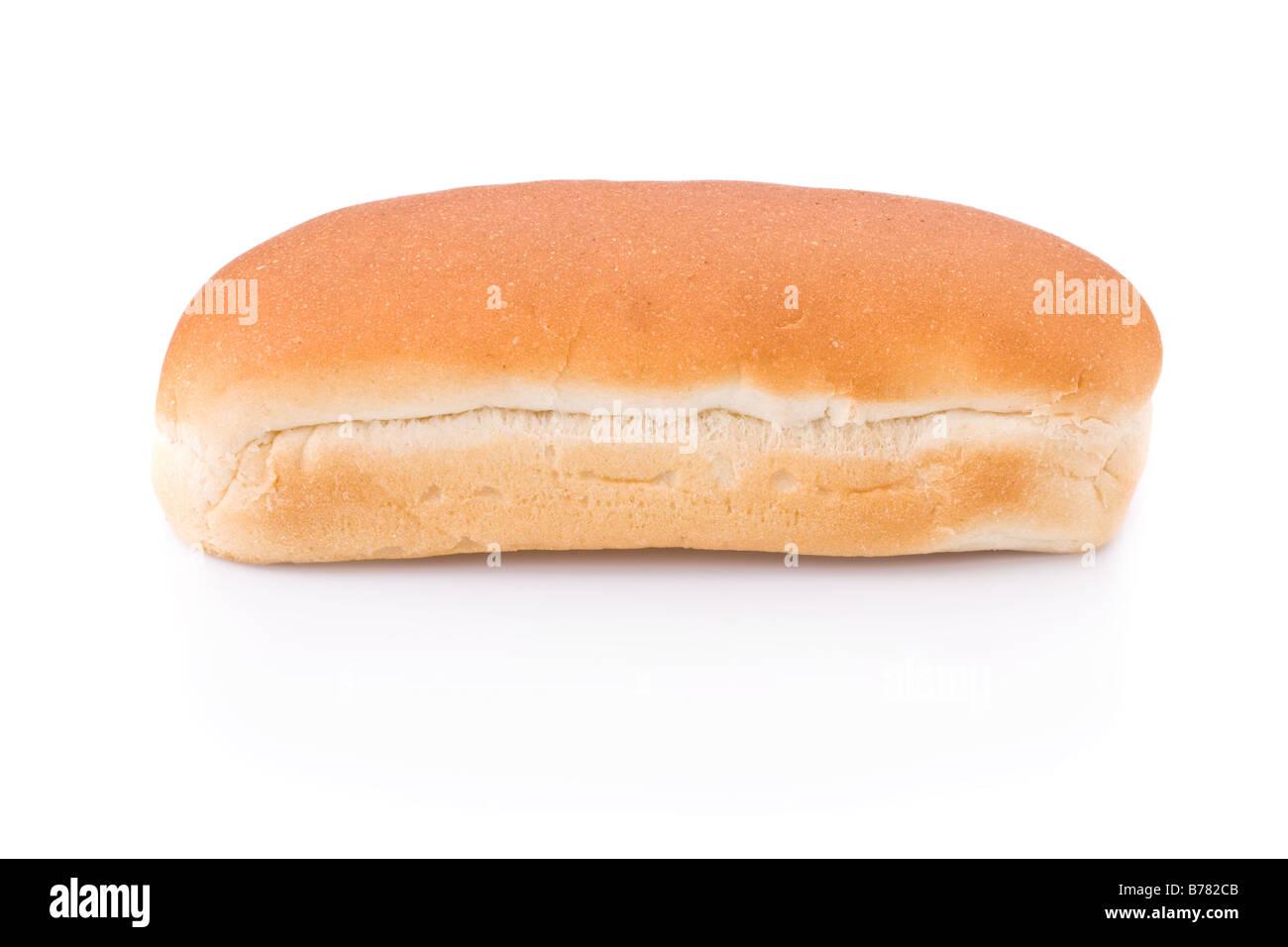 Hot Dog Brötchen isoliert auf weißem Hintergrund Stockbild
