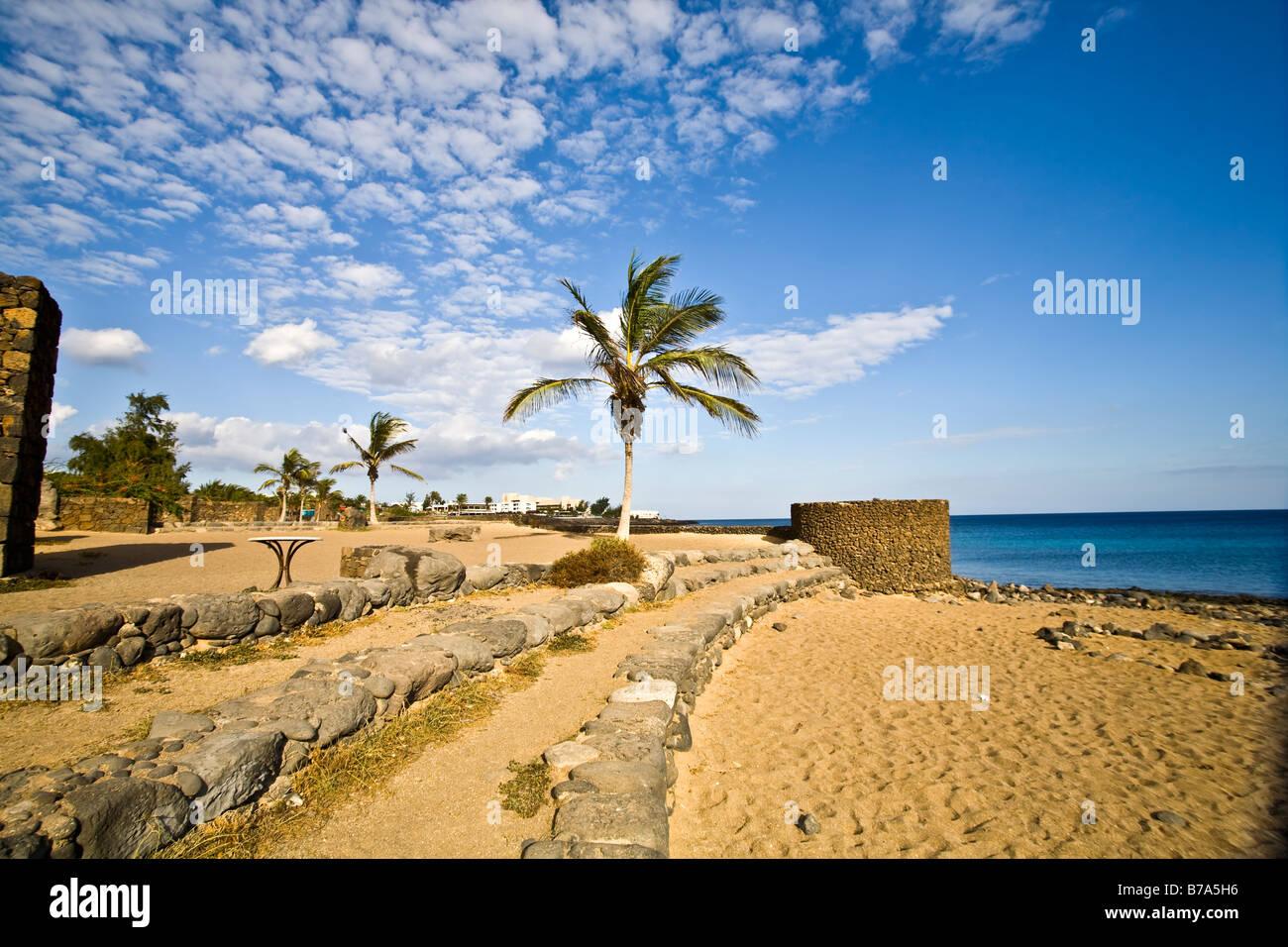Playa bastian Costa Teguise Lanzarote Kanarische Inseln Spanien Europa Strand Playa Reise Tourismus Stockbild