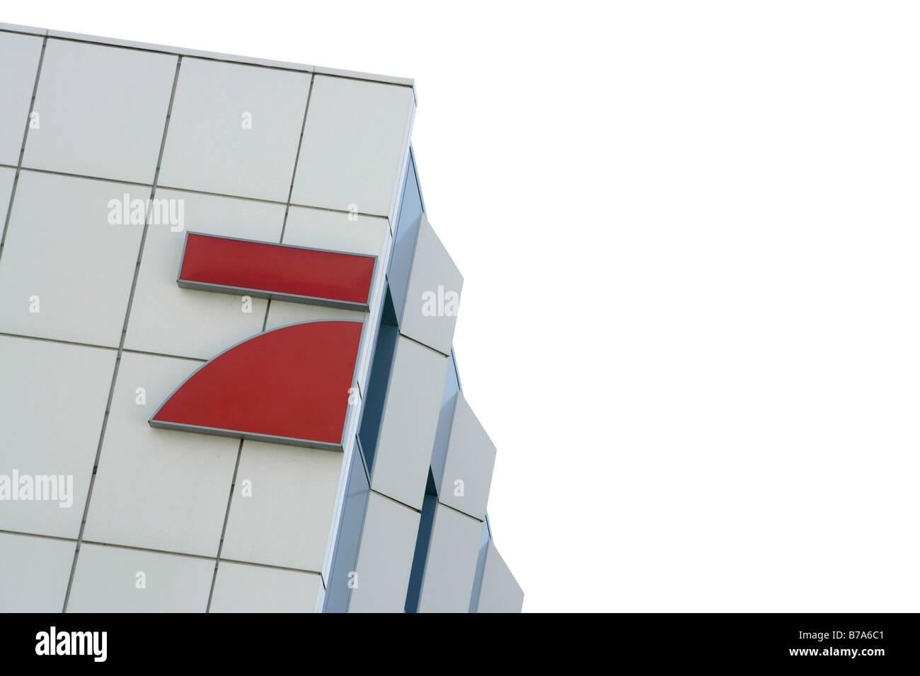 Premiere World Company Headquarters in Medienallee Straße in Unterföhring bei München, Bayern, Deutschland, Stockbild