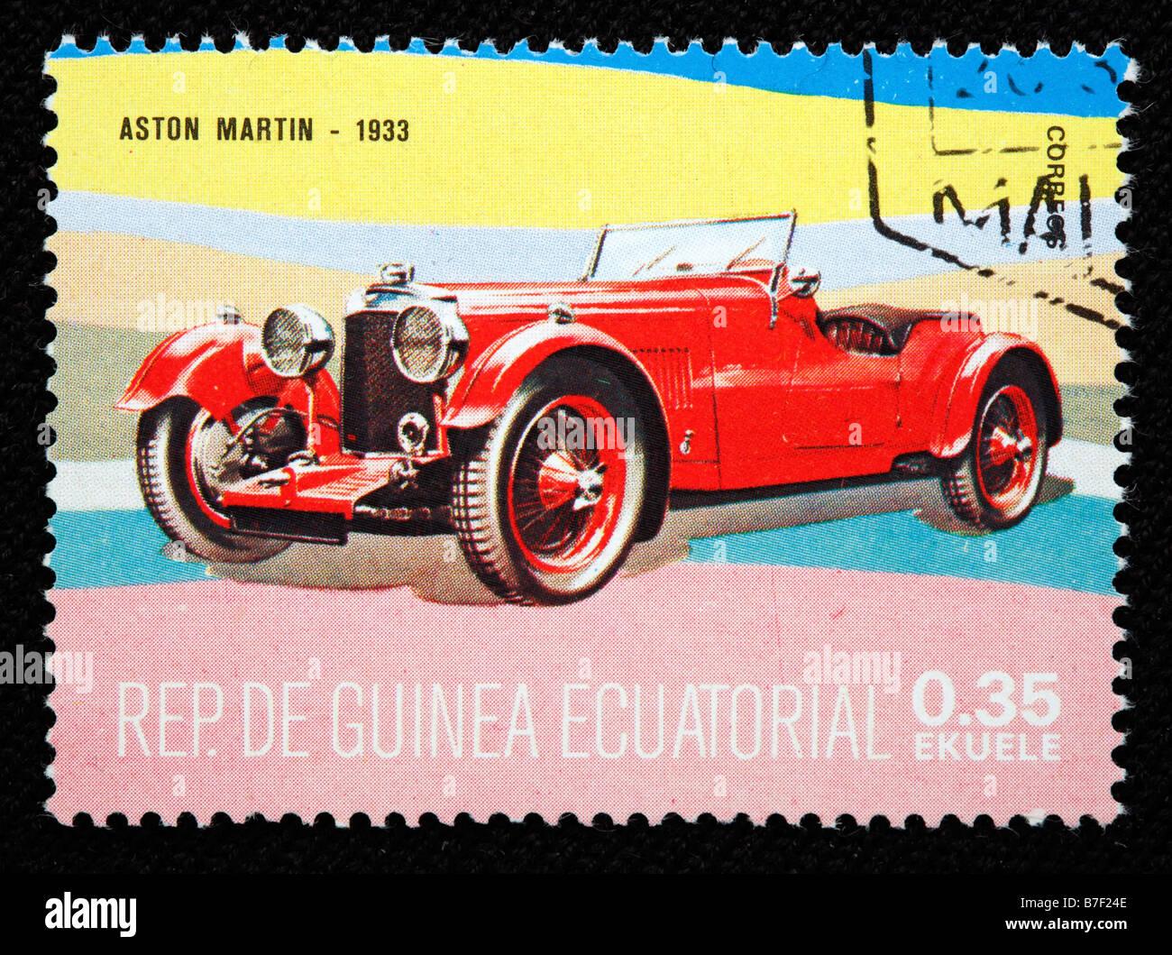 Geschichte des Verkehrs, Auto Aston Martin (1933), Briefmarke, Äquatorial-Guinea Stockbild