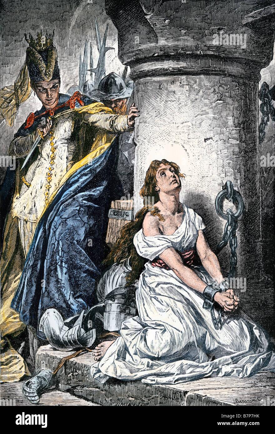 Joan of Arc wegen Ketzerei und Hexerei nach der Fahrt die Engländer von Orleans Stockbild