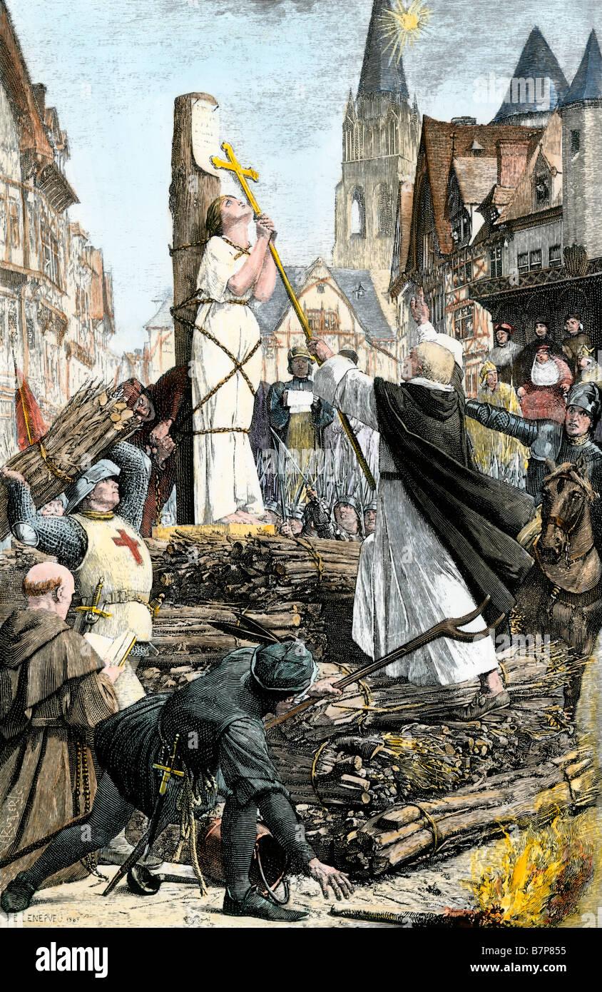 Jeanne d ' Arc auf dem Scheiterhaufen für Hexerei und Ketzerei in Frankreich Rouen 1431 verbrannt Stockbild