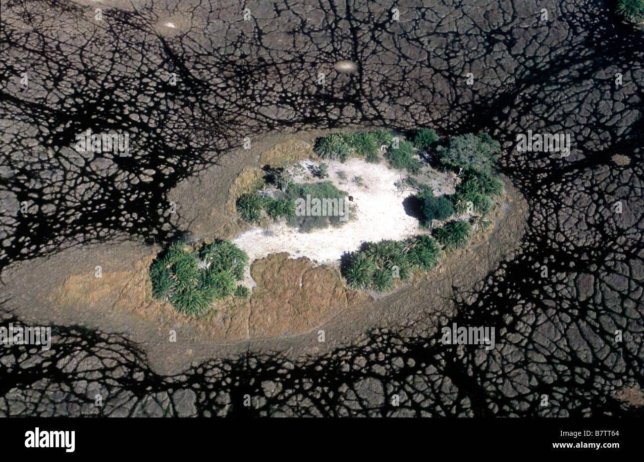 Luftbild der Inseln im Okavangodelta Stockbild