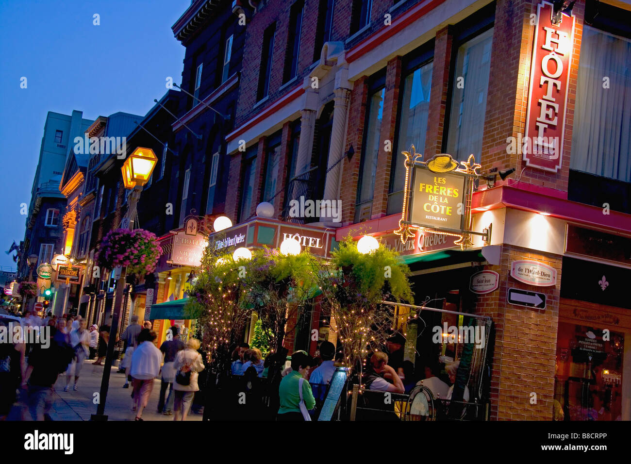 Straßenbild Nacht, alten Québec Stockbild