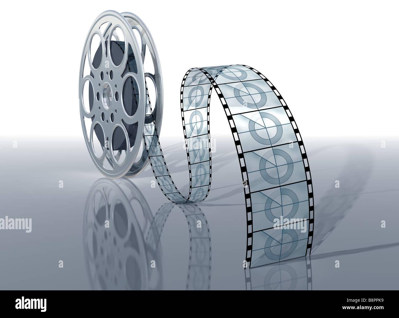 Beispiel für einen Film Reel und Film auf eine glänzende Oberfläche Stockbild