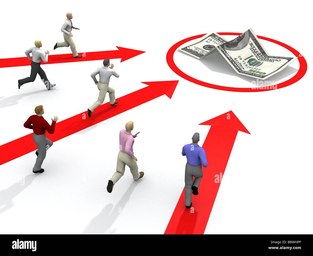 Unternehmer-Wettbewerb für Geld Stockbild