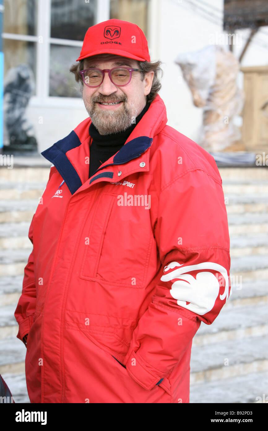 Mitglied der Alfa Bank Board von Geschäftsführer Alexander Gafin im Otrada Equestrian Center in Moskau Stockbild