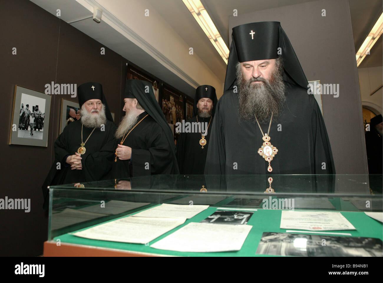 Eine Ausstellung der Kirche und Russland s geistliche Erweckung widmet sich den 15. Jahrestag der Inthronisation Stockbild
