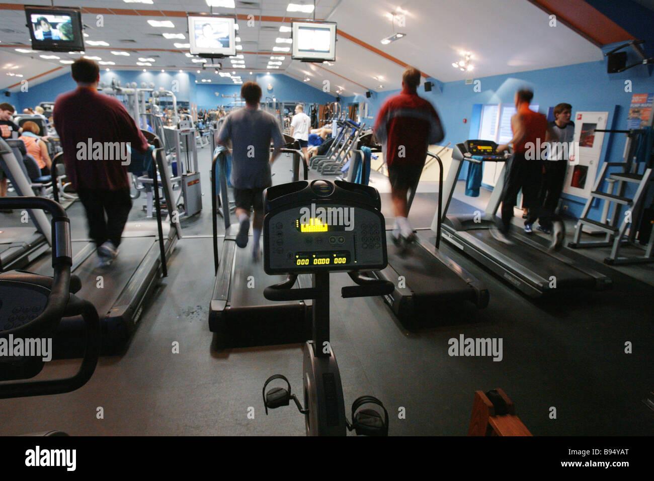 Janinn Fitness Center Rennstrecke Simulator Zimmer Moskau Stockbild