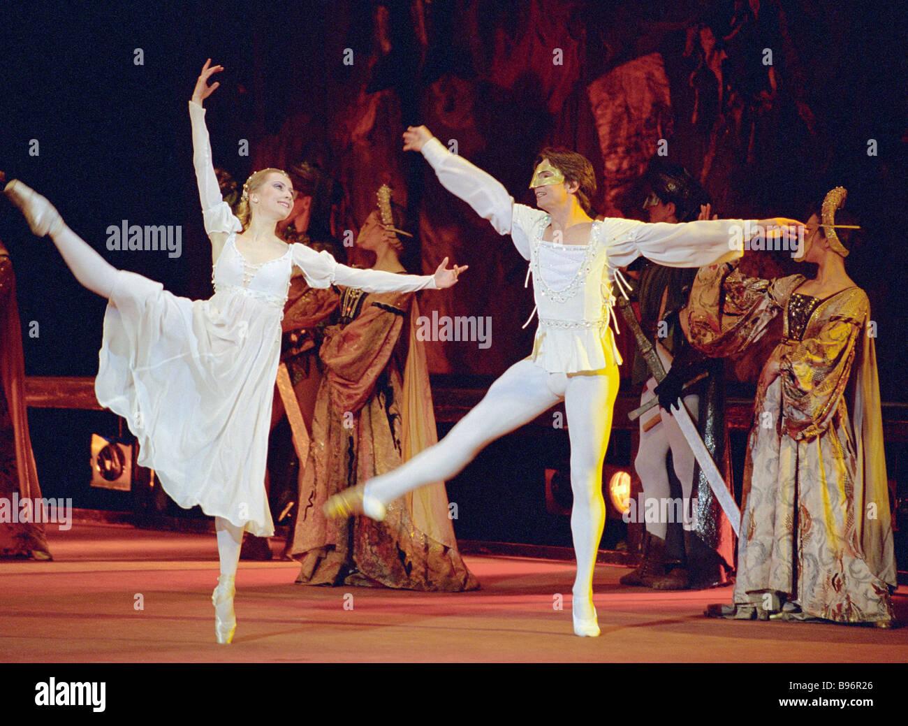 Romeo und Juliet Moscow Gastspiel der nationalen Bolschoi-Ballett von Belarus Belarus Jahr in Russland-Eröffnungs Stockbild