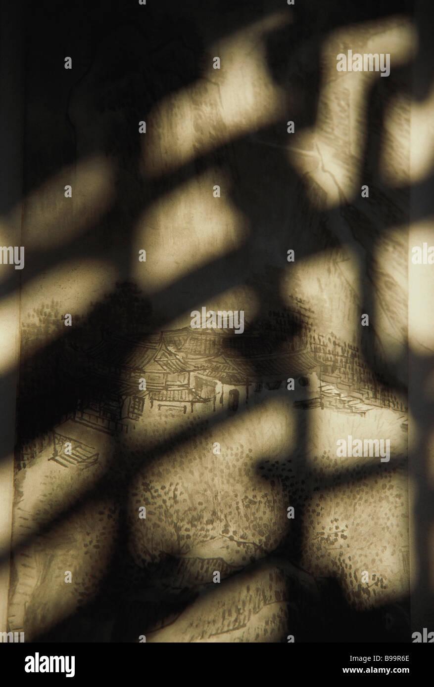 Traditionelle Zeichnung des chinesischen Dorf und Schatten Stockbild