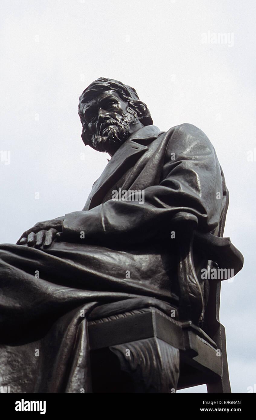 Statue von Thomas Carlyle, Chelsea Cheyne Walk. Stockbild