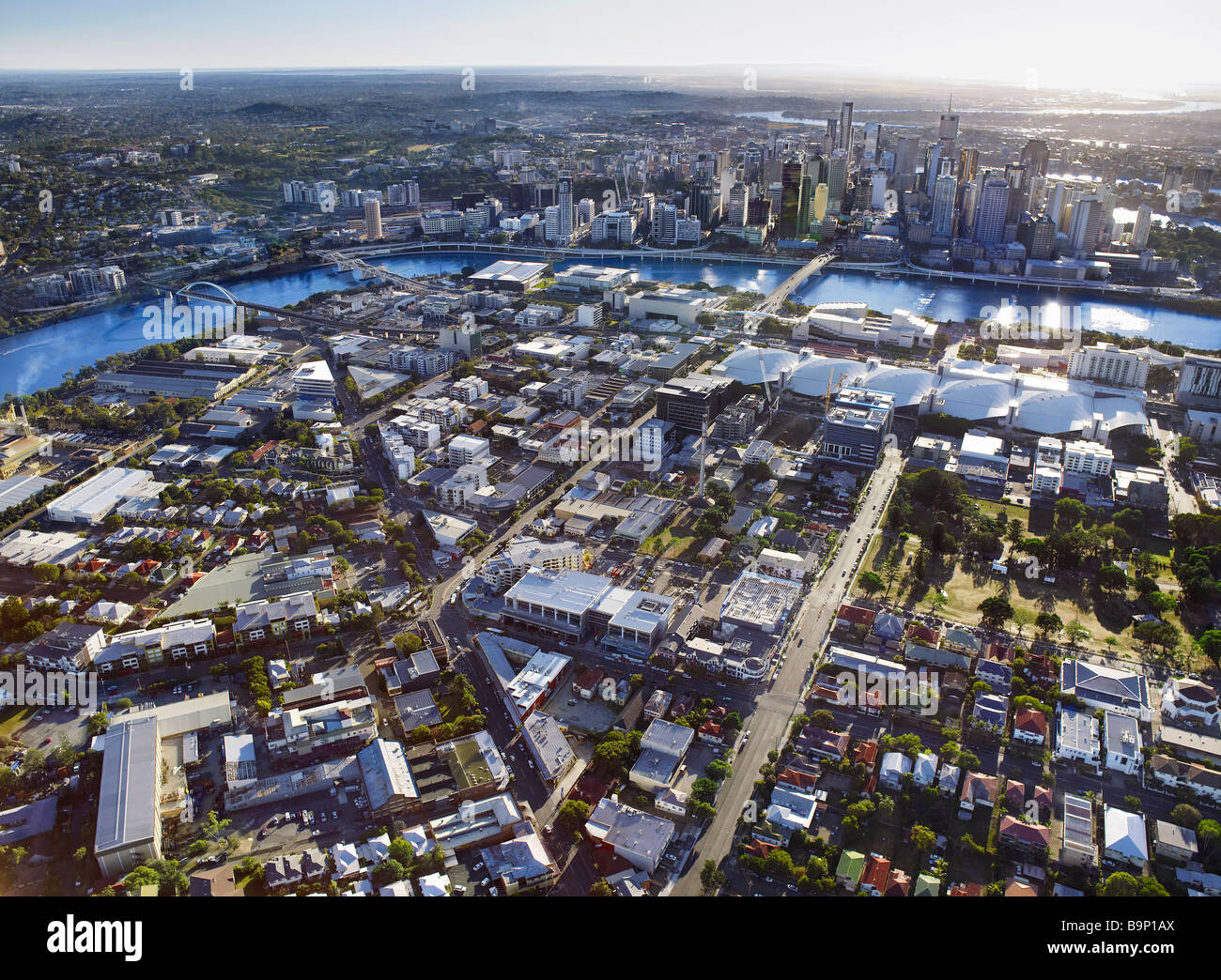 Luftbild des South Brisbane Australien Stockbild