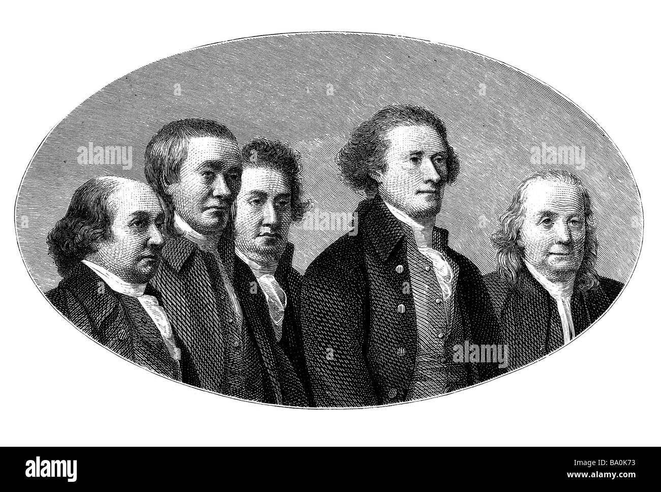 Unterzeichnung der amerikanischen Unabhängigkeitserklärung Stockbild
