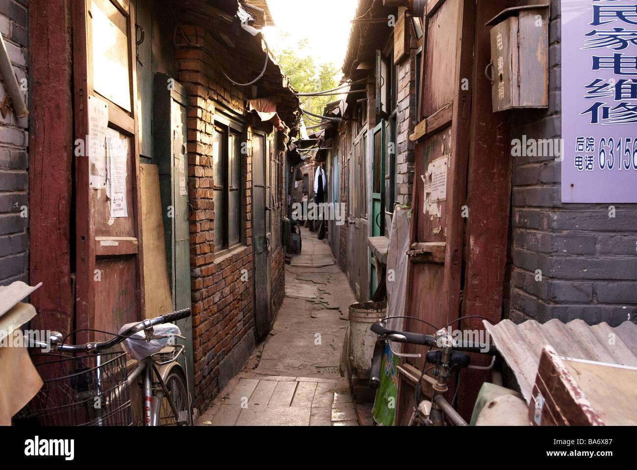 China, Beijing, Alltag in einem der letzten Hutongs Stockbild