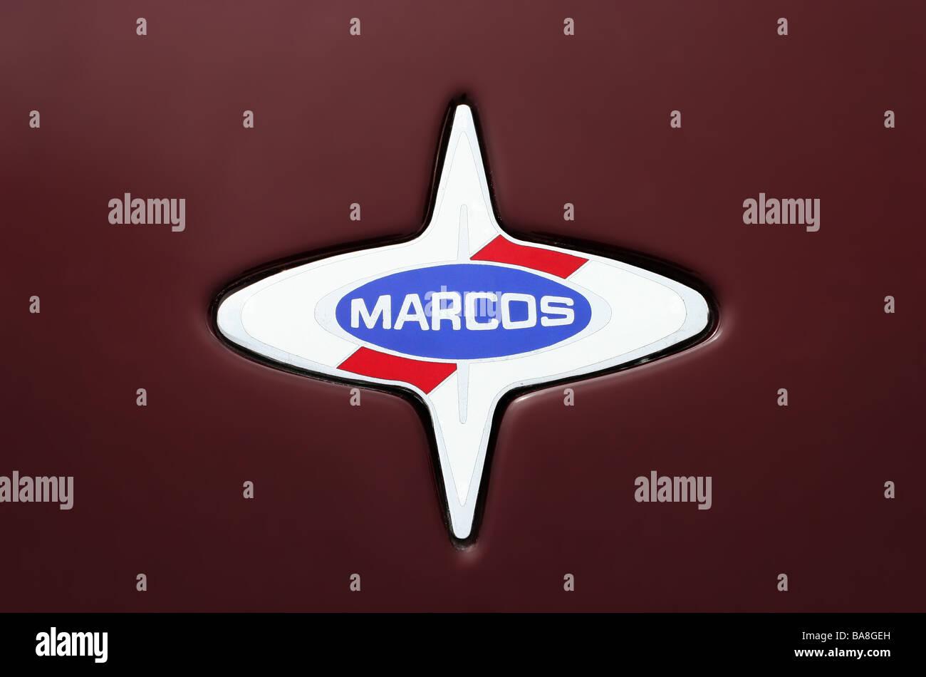 Abzeichen / Logo des untergegangenen großen britischen Sportwagen-Hersteller Marcos Stockbild