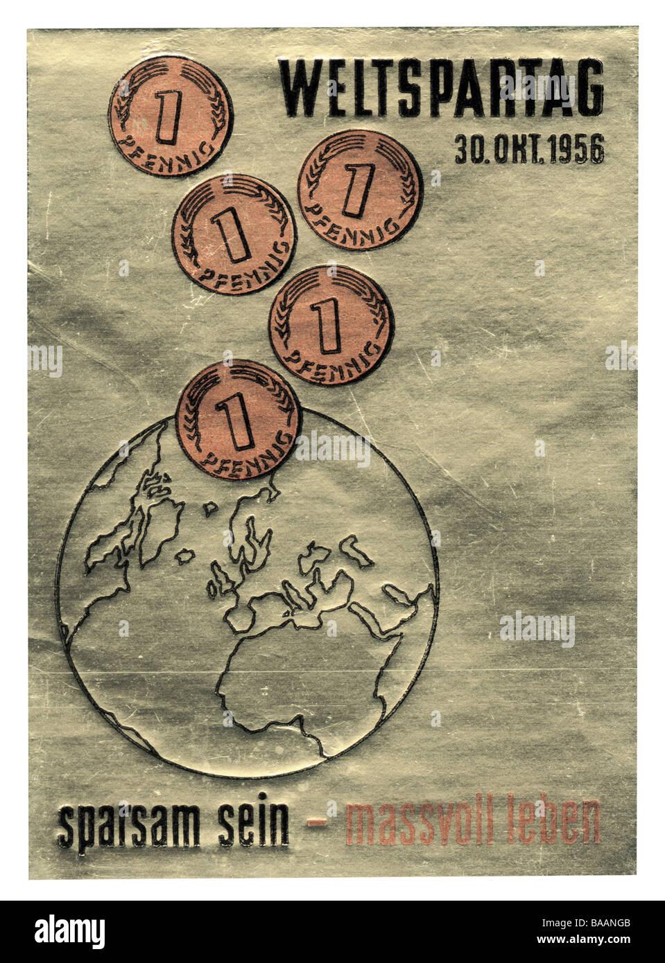 Werbung, Stempel 'Sparsam Sein - Massvoll Leben', Weltspartag, Deutschland, 30.10.1956, historisch, historische, Stockbild