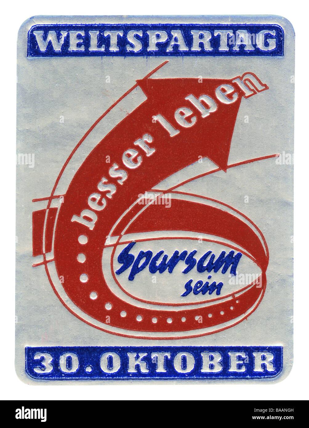 """Werbung, Stempel """"Sparsam Sein - Besser Leben"""", Weltspartag, Deutschland, 30.10.., 1960er Jahre, historisch, Stockbild"""