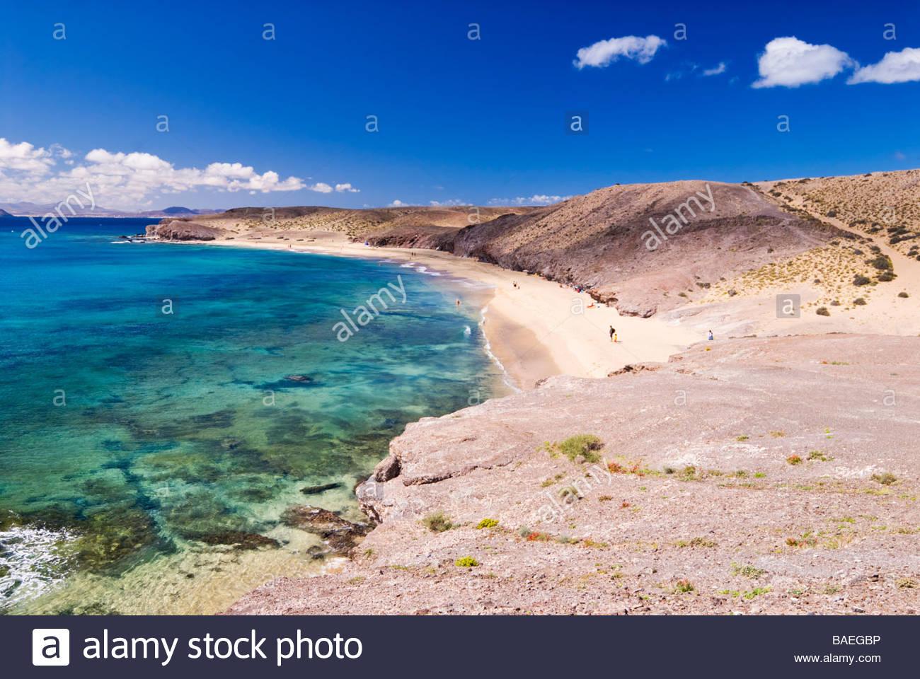 Caleta Del Congrio, Papagayo, Lanzarote, Kanarische Inseln, Spanien. Stockbild