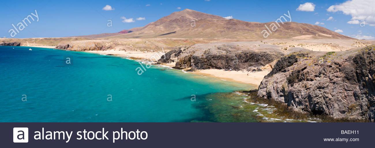 Strände von Punta del Papagayo, Lanzarote, Kanarische Inseln, Spanien. Stockbild