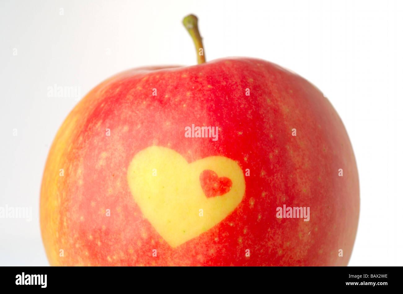 Apfel mit dekorativen Wärme form Stockbild