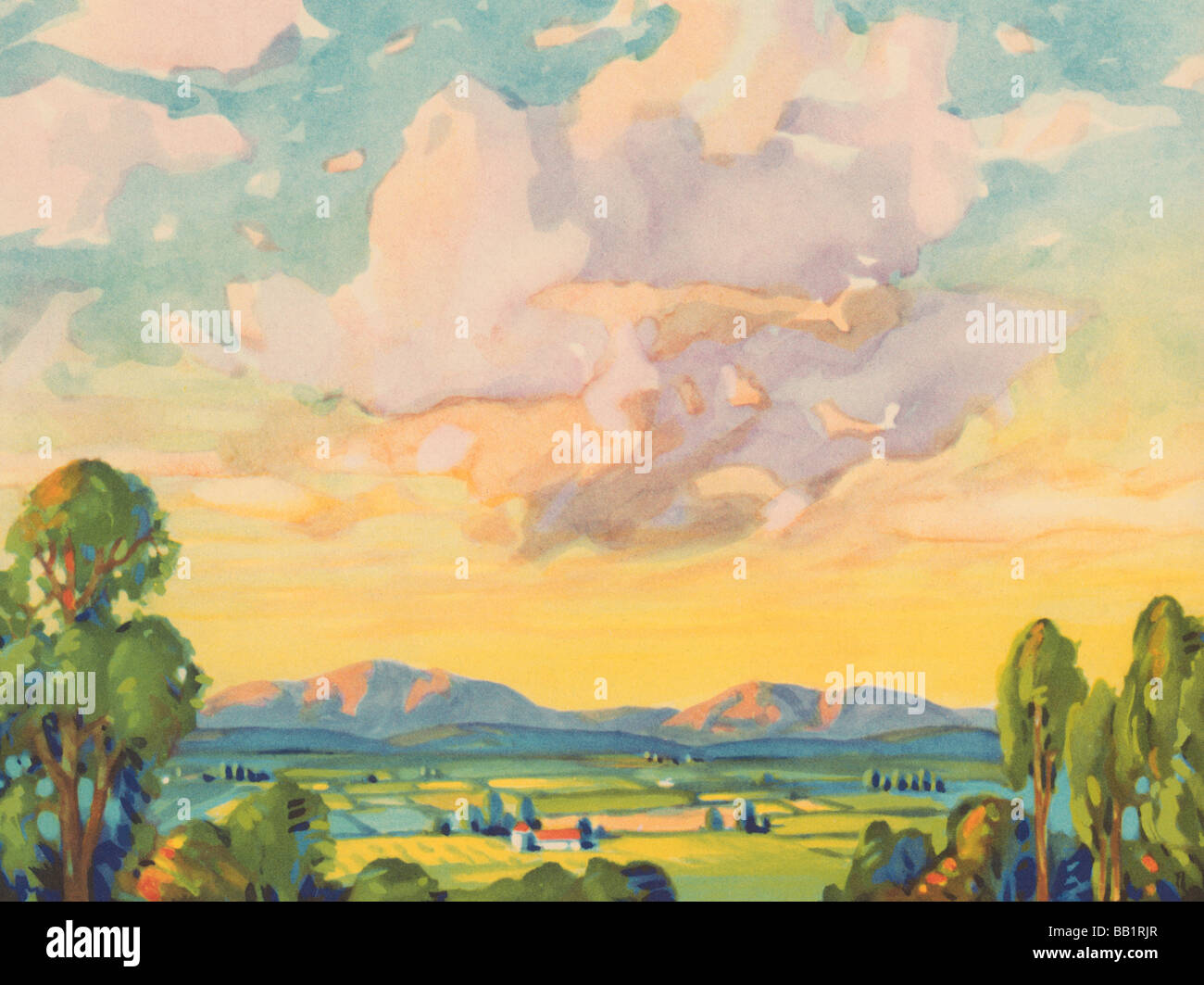 Landschaft und Sommerwolken Stockbild