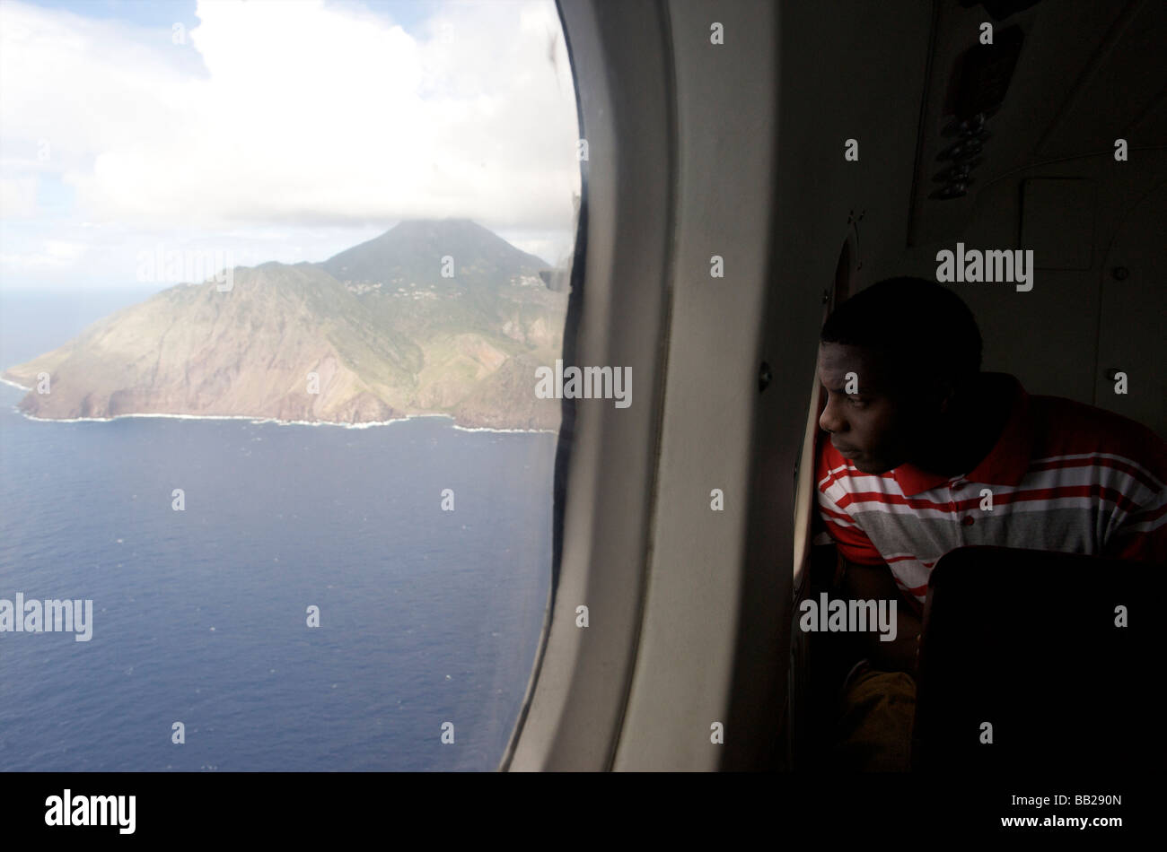 Aerial Antillen Antillen Bovenwinden Bovenwindse Karibik niederländische Eiland Eilanden erhöhten anzeigen Stockbild