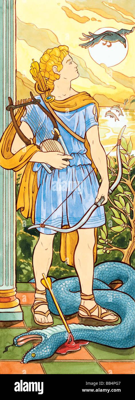 Die alten Griechen und Römer verehrten Apollo als der Gott der Musik, Heilung, Licht und Prophezeiung. Stockbild